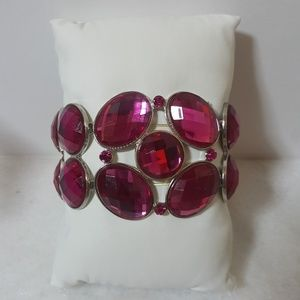 Large Pink Faux Gem Bracelet